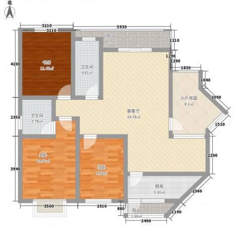 普瑞华庭3室1厅2卫1厨143.00㎡户型图