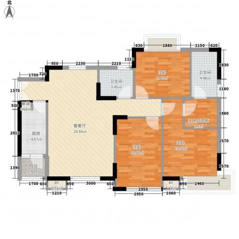 名品建筑3室1厅2卫1厨115.00㎡户型图