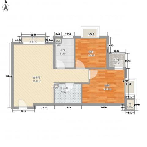 北京明发广场2室1厅1卫1厨61.88㎡户型图