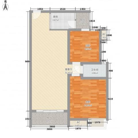 康馨里居2室1厅1卫1厨70.26㎡户型图