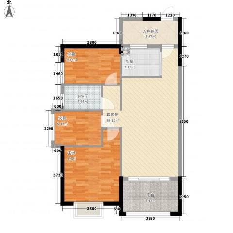 海悦云天3室1厅1卫1厨77.41㎡户型图