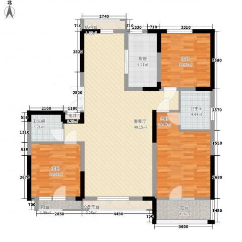 万晟爱琴海二期3室1厅2卫1厨129.00㎡户型图