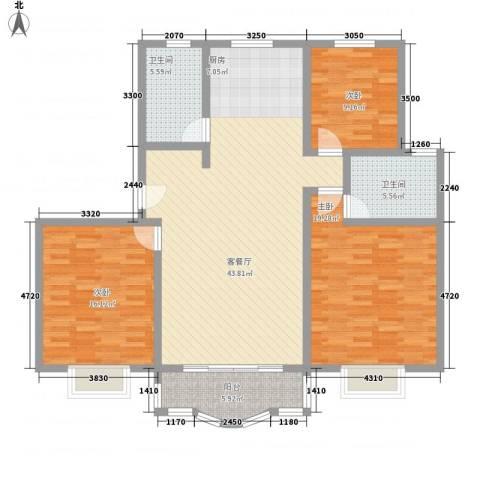 东方滨港园3室1厅2卫0厨113.00㎡户型图