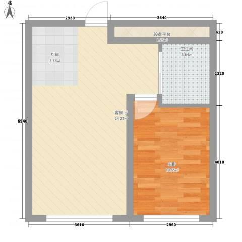 高格蓝湾1室1厅1卫0厨58.00㎡户型图