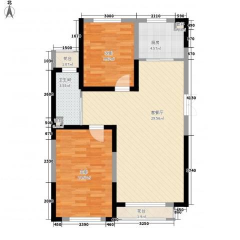 蓝色港湾2室1厅1卫1厨100.00㎡户型图