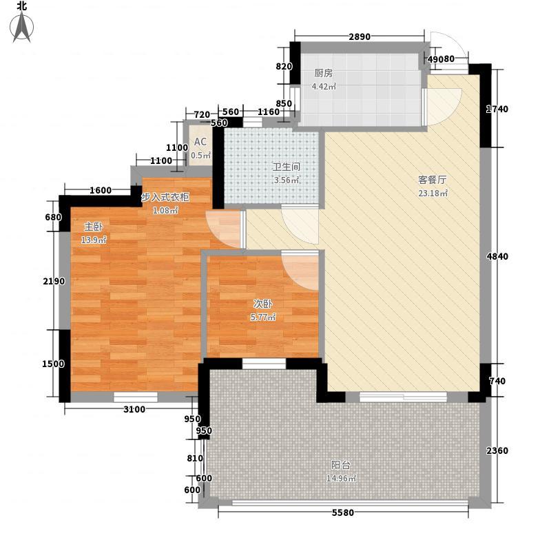 泺海・蝶泉湾8.00㎡公馆-J3户型2室2厅1卫