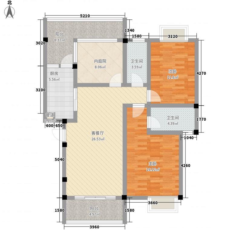 彰泰城二期17#A4户型2室2厅2卫1厨
