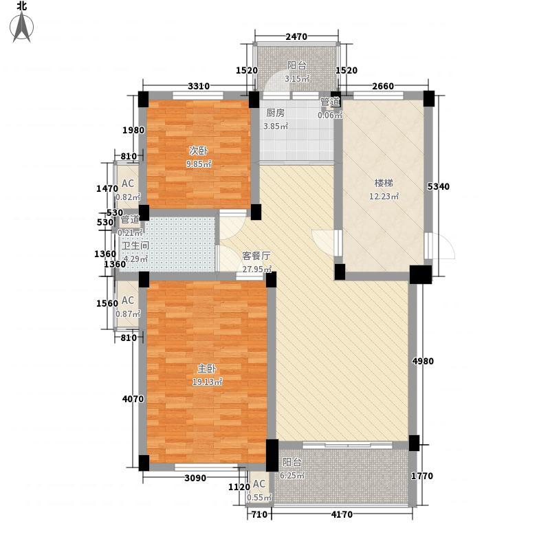 爱民苑8.10㎡多层标准层B8991户型2室2厅1卫