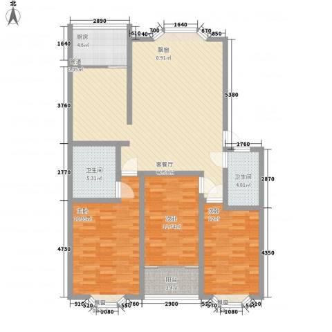 华信花园3室1厅2卫1厨138.00㎡户型图