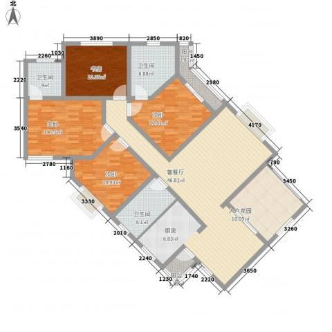 普瑞华庭4室1厅3卫0厨183.00㎡户型图