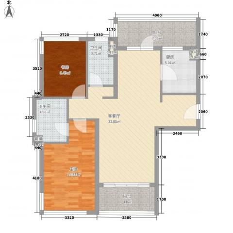 仁恒河滨城三期2室1厅2卫1厨115.00㎡户型图