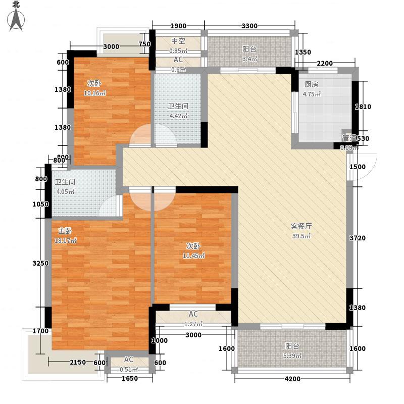 天集青云明珠124.48㎡C户型3室2厅2卫1厨