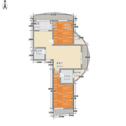 洱海国际生态城2室1厅2卫1厨123.00㎡户型图