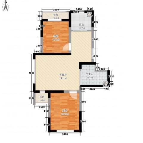 蓝色港湾2室1厅1卫1厨89.00㎡户型图