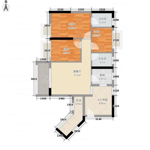 星星华园国际3室1厅2卫1厨88.00㎡户型图