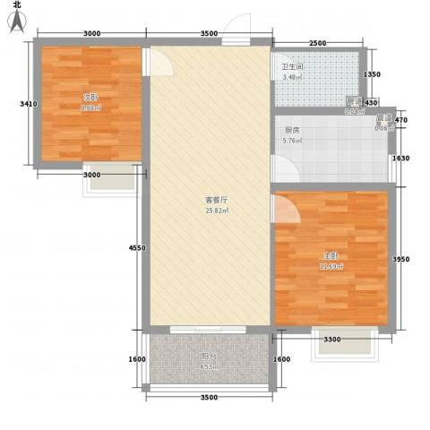 橄榄城2室1厅1卫1厨60.27㎡户型图