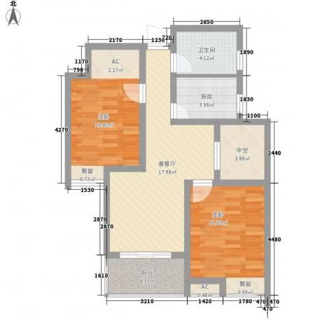东方威尼斯2室1厅1卫1厨87.00㎡户型图