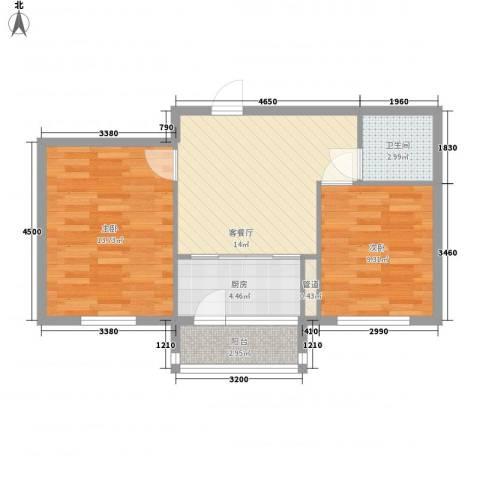 汇益华庭2室1厅1卫1厨68.00㎡户型图