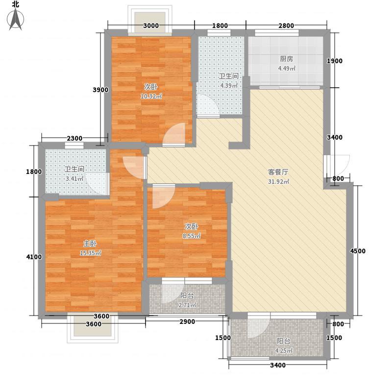 建盛福海城115.57㎡6#B户型3室2厅2卫1厨