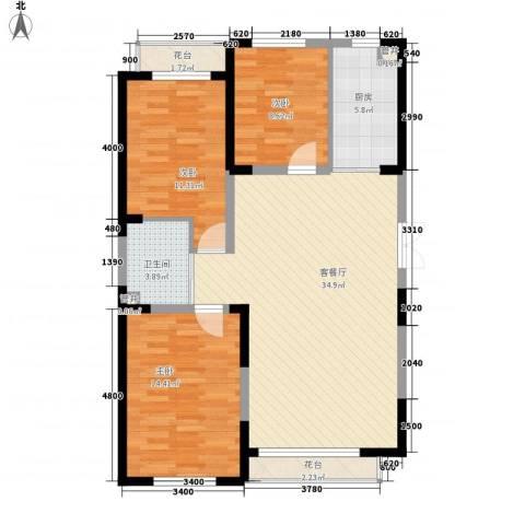 蓝色港湾3室1厅1卫1厨120.00㎡户型图