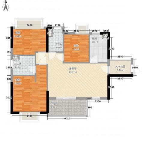 海悦云天3室1厅2卫1厨74.30㎡户型图