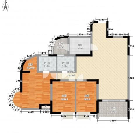 大朗中心花园三期3室1厅2卫1厨126.00㎡户型图