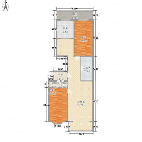 隆庆河畔家园2室0厅1卫1厨118.80㎡户型图