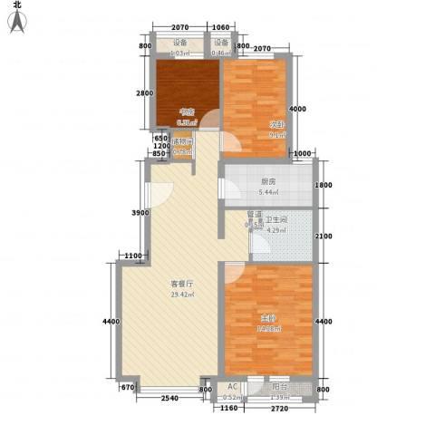 中粮万科紫云庭3室1厅1卫1厨102.00㎡户型图