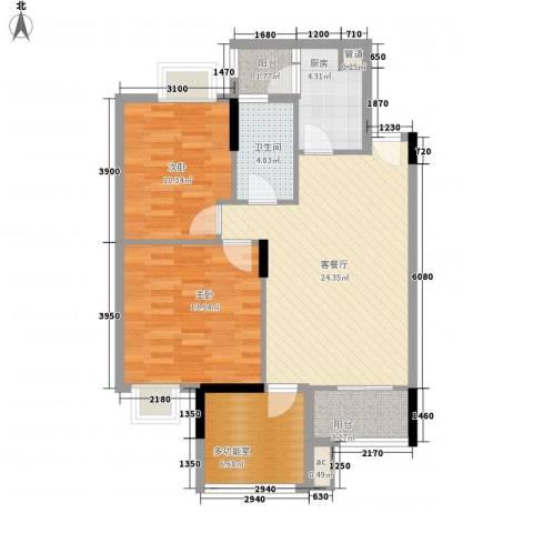 时富城东世家2室1厅1卫1厨82.00㎡户型图