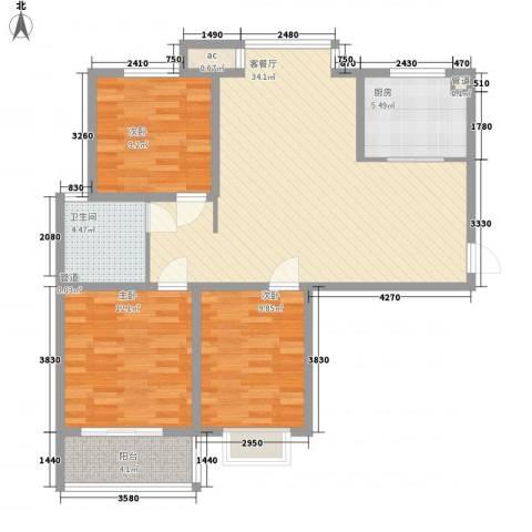 橄榄城3室1厅1卫1厨114.00㎡户型图