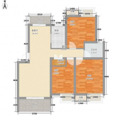 枫庐新天地3室1厅1卫1厨105.00㎡户型图