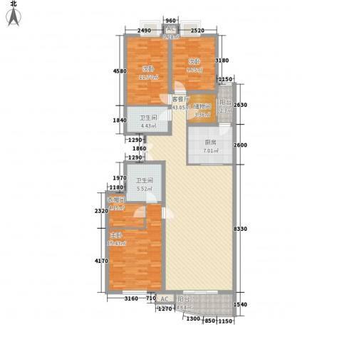 观景园3室1厅2卫1厨162.00㎡户型图