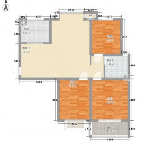 橄榄城3室1厅1卫1厨76.46㎡户型图