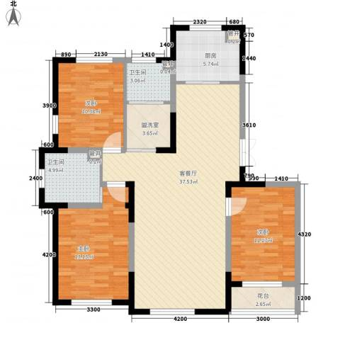 蓝色港湾3室1厅2卫1厨128.00㎡户型图