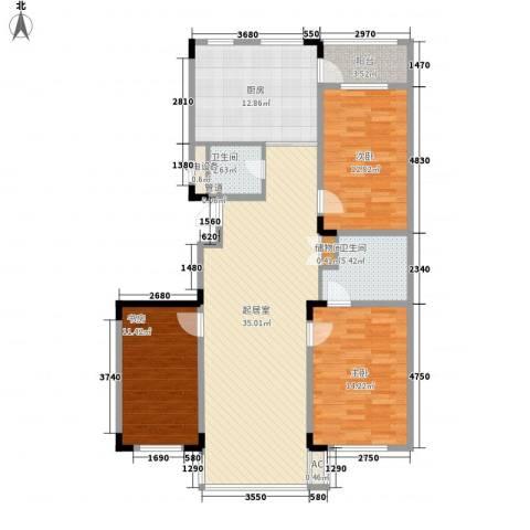 爵士A版3室0厅2卫1厨135.00㎡户型图