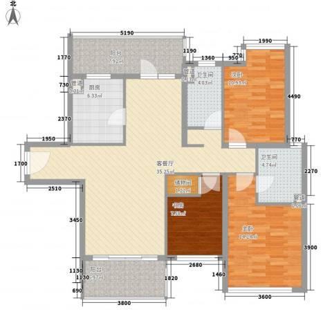 仁恒河滨城三期3室1厅2卫1厨140.00㎡户型图