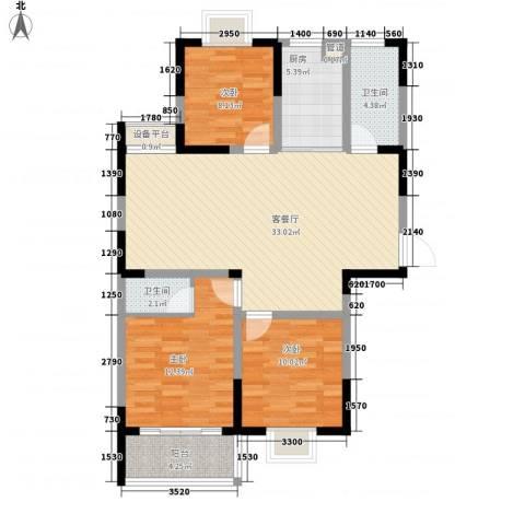盛世翡翠3室1厅2卫1厨113.00㎡户型图
