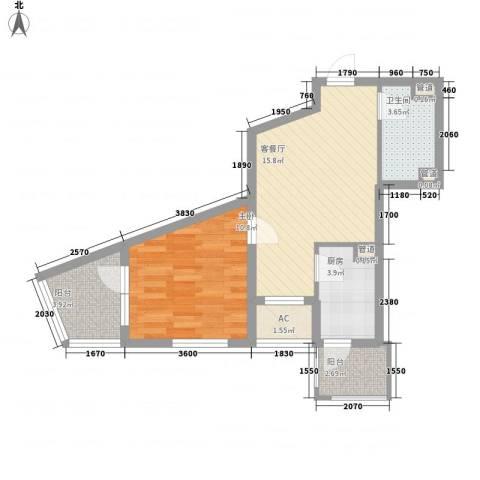 明天第一城1号院1室1厅1卫1厨63.00㎡户型图