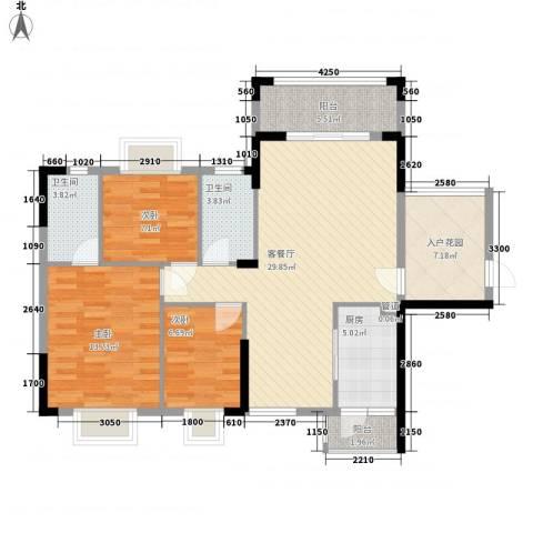 海悦云天3室1厅2卫1厨84.75㎡户型图