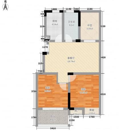 东方威尼斯2室1厅1卫1厨88.00㎡户型图