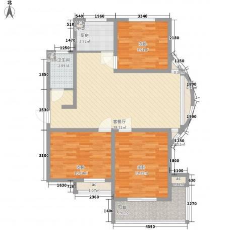 橄榄城3室1厅1卫1厨112.00㎡户型图