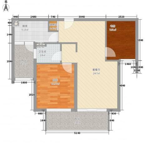 仁恒河滨城三期2室1厅1卫1厨91.00㎡户型图