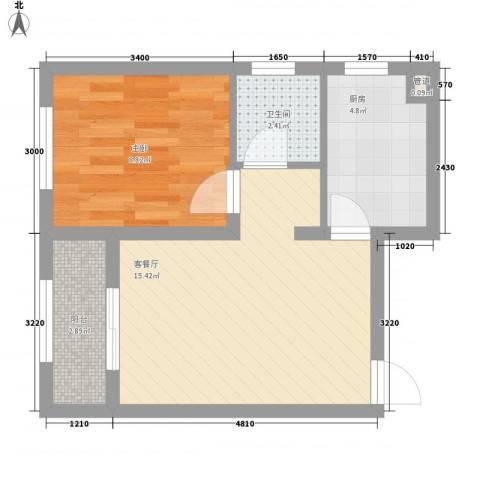 首创光和城1室1厅1卫1厨51.00㎡户型图