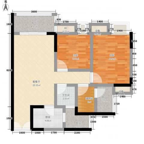 泽瑞琥珀天成2室1厅1卫1厨101.00㎡户型图
