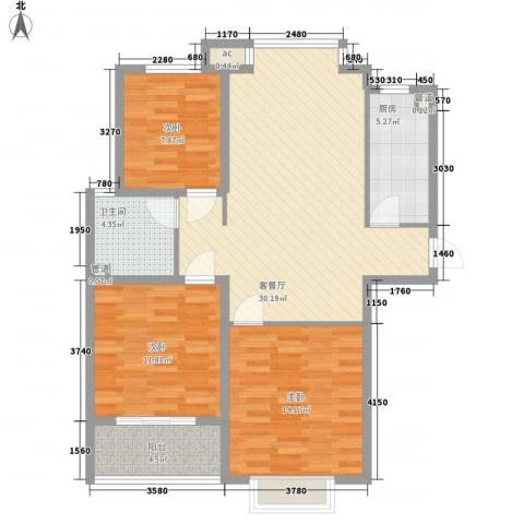 橄榄城3室1厅1卫1厨111.00㎡户型图