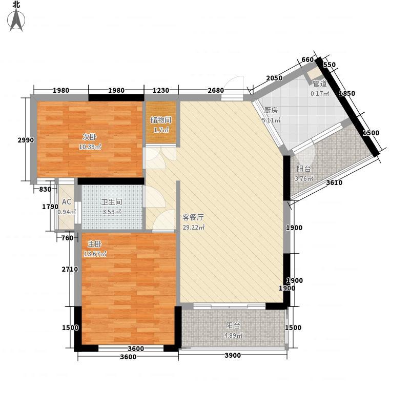 幸福郡音乐花园二期5.40㎡1栋2单元-03户型2室2厅1卫1厨