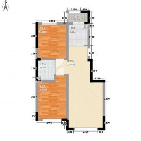 香水湾二期2室1厅1卫1厨79.00㎡户型图