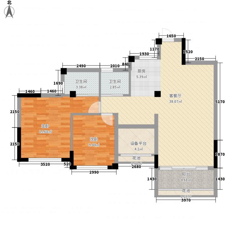 冠泰水晶城8.57㎡31号楼G1户型2室2厅2卫1厨