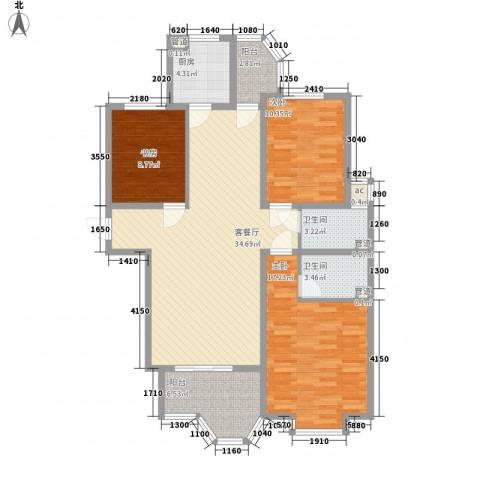 橄榄城3室1厅2卫1厨132.00㎡户型图