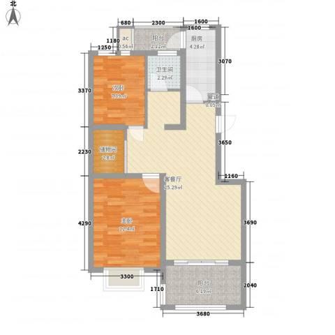 申亚瑞庭2室1厅1卫1厨92.00㎡户型图